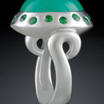 Swirl Shoulder, crafted in 18 karat white gold, featuring Chrysoprase Chalcedony and Tsavorite (green) garnet