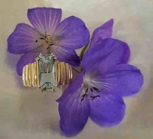 Aquamarine with flower